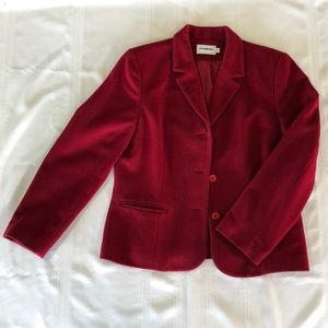 Rich cranberry wool blazer